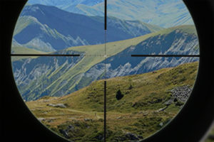 Vue d'une lunette de tir longue distance